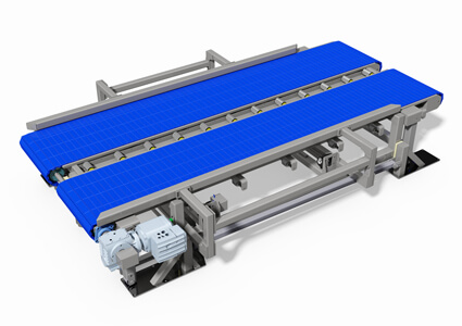 Slate conveyor with centering